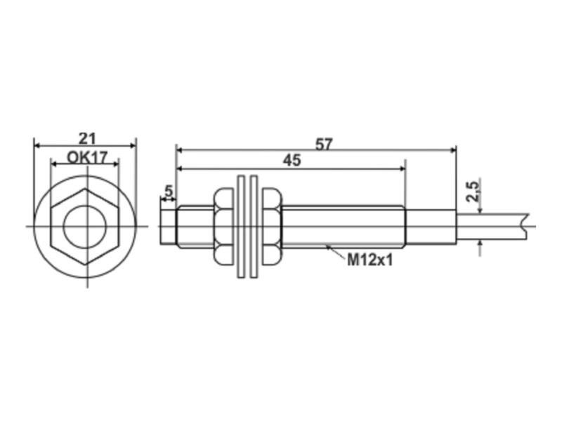 Induktivni senzor - LM12 - 4mm - NPN - 6-36VDC - NO+NC