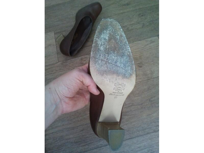 Italijanske kožne cipele na štiklu 37 - smeđe