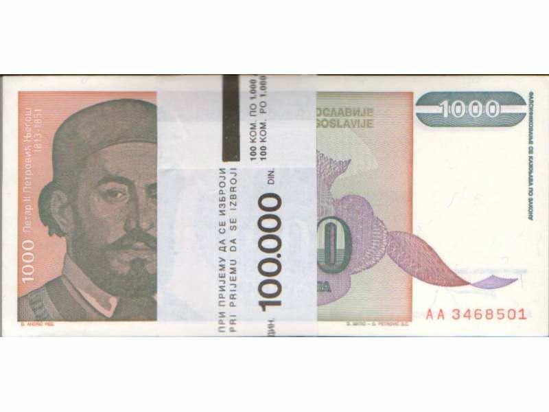 JUGOSLAVIJA 1.000 DINARA 1994 UNC ; BUNT 100 novčanica