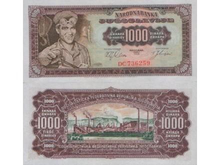 JUGOSLAVIJA 1000 DINARA 1963 UNC , ST-93/P-75