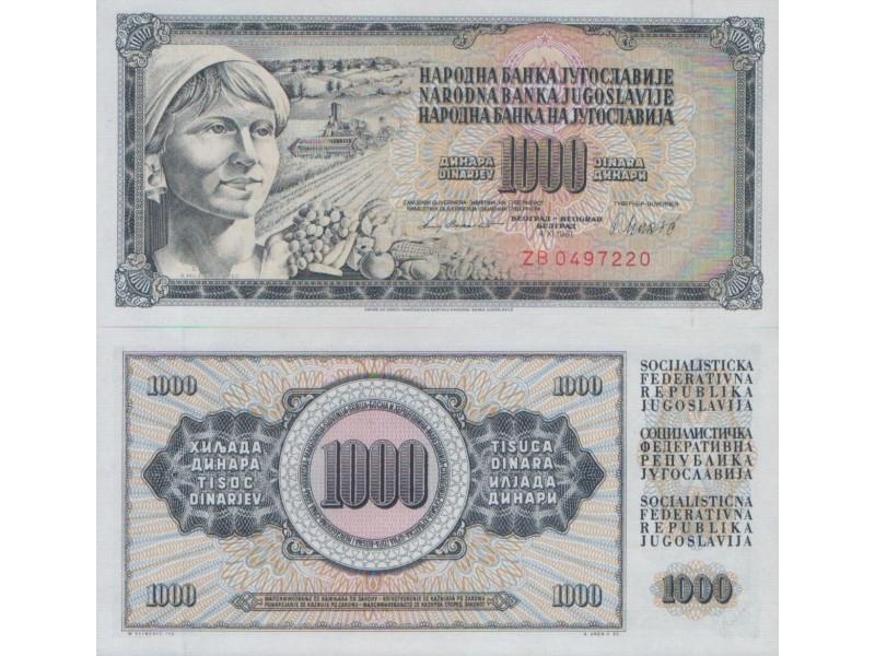 JUGOSLAVIJA 1000 DINARA 1981 UNC, ST-116/P-92d ZB