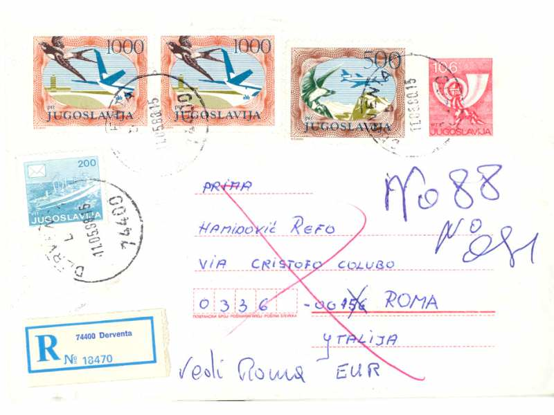 JUGOSLAVIJA 1988 CELO PISMO DERVENTA