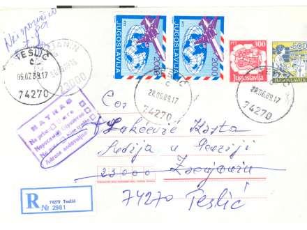 JUGOSLAVIJA 1989 CELO PISMO IZ TESLIĆA