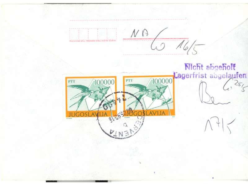 JUGOSLAVIJA 1990 PISMO IZ DERVENTE