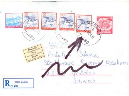 JUGOSLAVIJA 1991 MODRIČA CELO PISMO