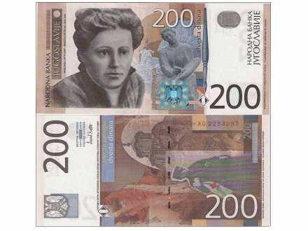 JUGOSLAVIJA 200 DINARA 2001. UNC ST-185/P-157