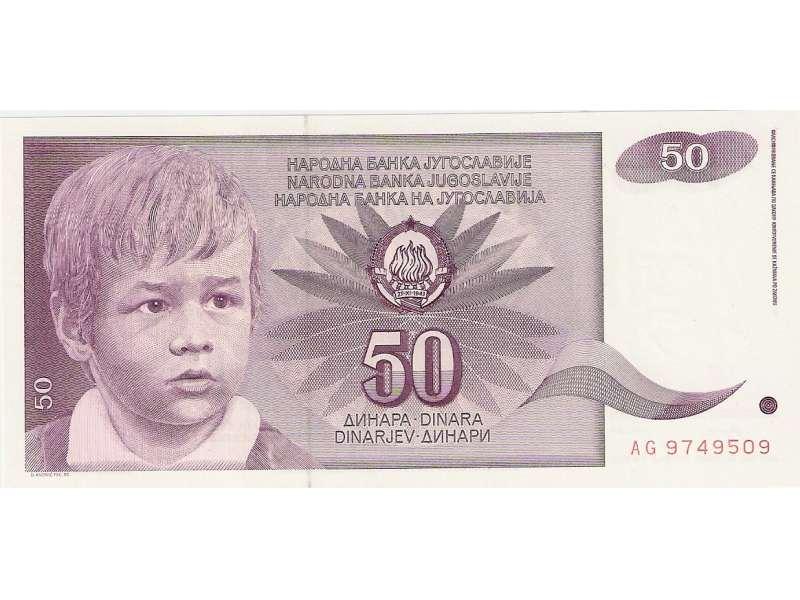 JUGOSLAVIJA 50 DINARA 1990. UNC ST-129