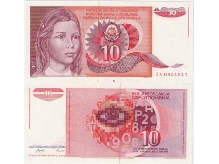 Jugoslavija 10 dinara 1990. UNC ZA zamenska