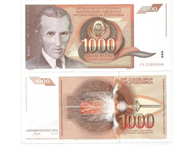 Jugoslavija 1000 dinara 1990. UNC  zamenska