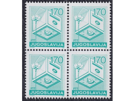 Jugoslavija 1988 Redovna - 170 din četverac, čisto (**)