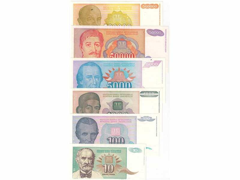 Jugoslavija 1994. set novcanica UNC kvalitet