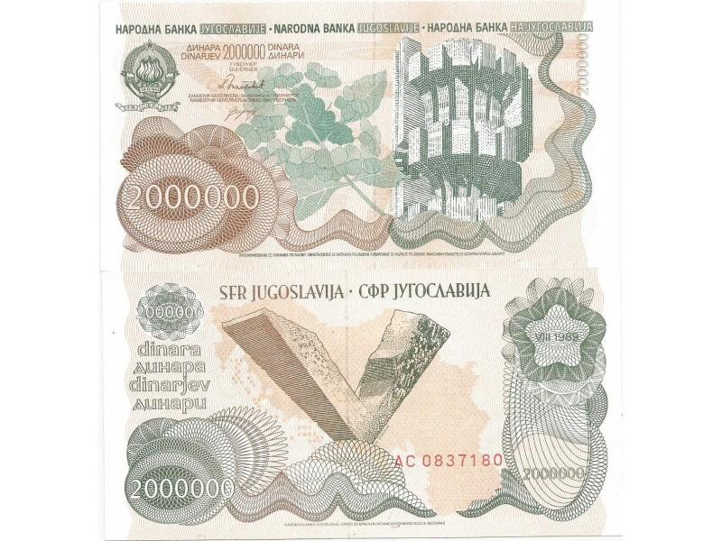 Jugoslavija 2.000.000 dinara 1989. UNC
