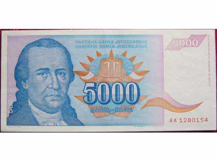 Jugoslavija, 5.000 dinara, 1994. UNC
