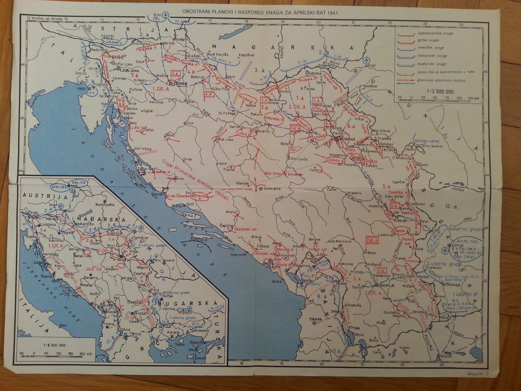 karta jugoslavije KARTA JUGOSLAVIJE ZA APRILSKI RAT 1941   Kupindo.(46595301) karta jugoslavije