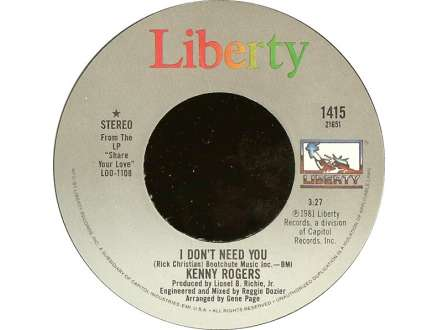 Kenny Rogers - I Don`t Need You / Without You In My Life