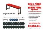 Klupa za vezbanje (bench), 2+1 sipke i tegovi 98kg