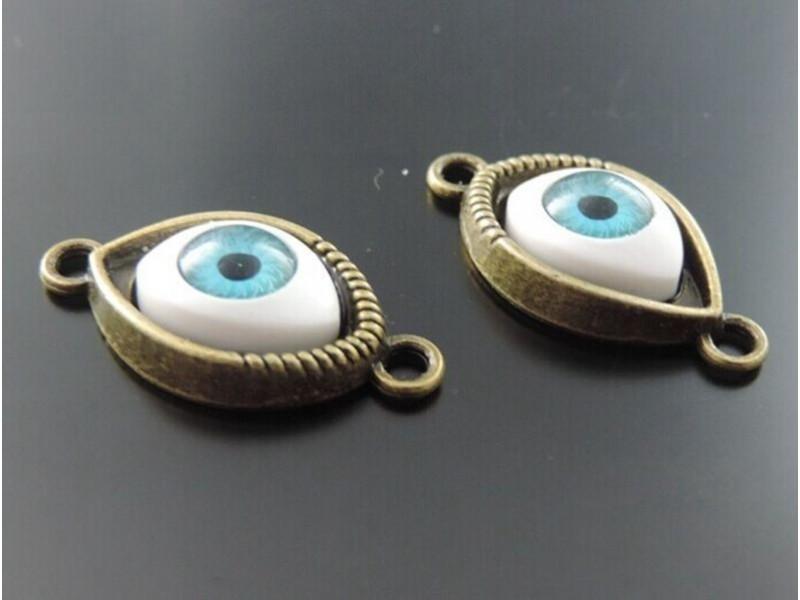 Konektor boje bronze oko evil eye 30x15mm plavo