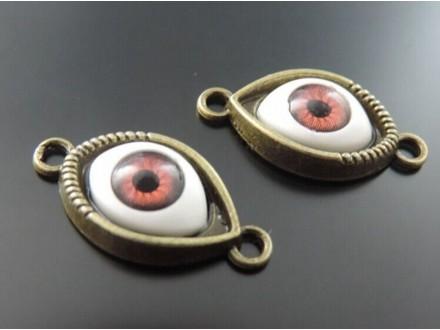 Konektor boje bronze oko evil eye 30x15mm smeđe