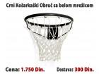 Košarkaški obruč Crni sa belom mrežicom