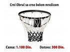 Košarkaški obruč Crni sa crno belom mrežicom
