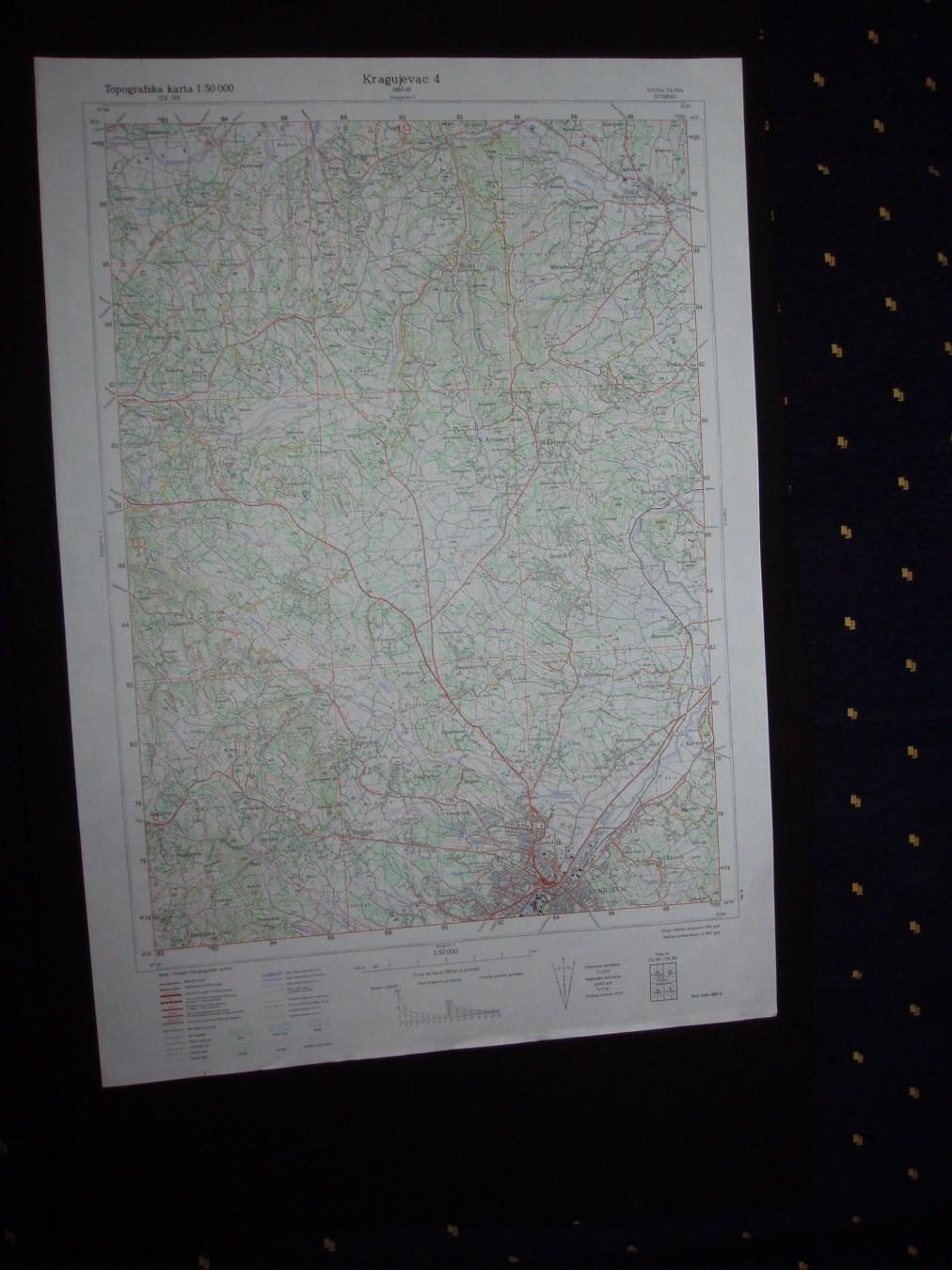 Kragujevac 4 Topografska Karta 1 50 000 480 4 Kupindo Com 31626809
