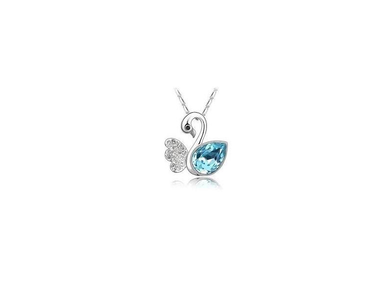 Kristalni labud i 18kt bela pozlata- ogrlica i privezak