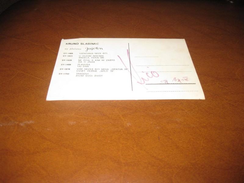 Krunoslav Kićo Slabinac - autogram karta (Jugoton)