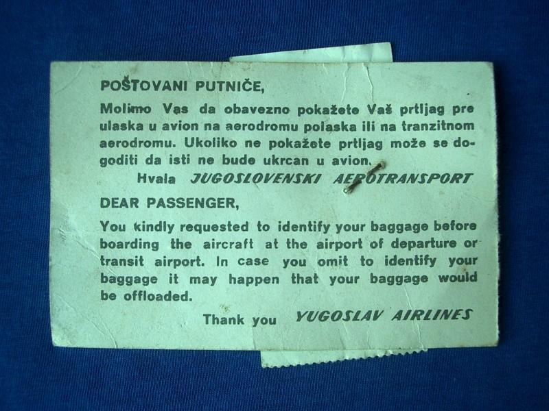 Kupon za ulaz u avion, JAT Aerodrom BG