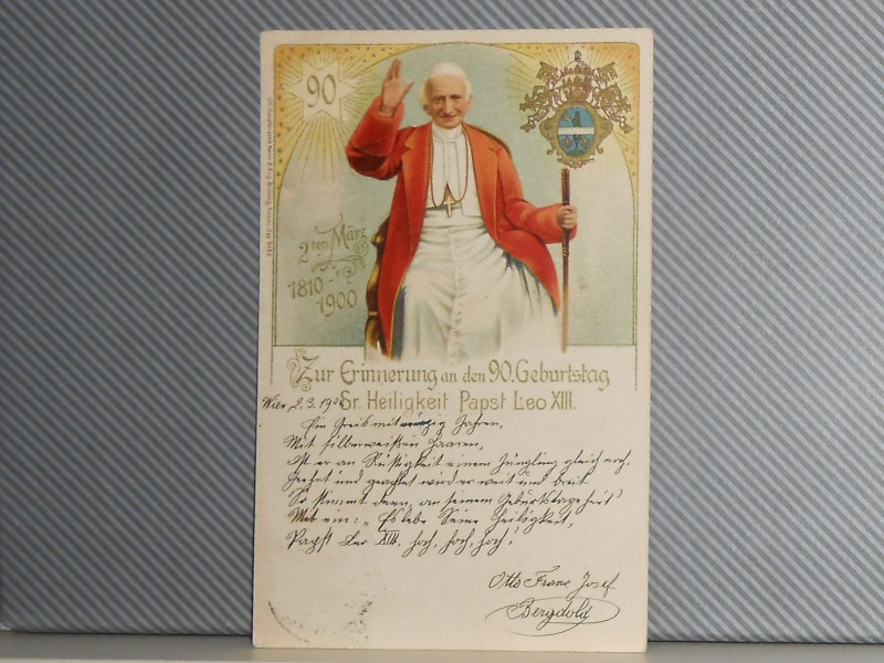LITHOGRAPHY PAPA LEO XIII. 90th birthday