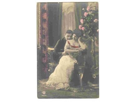 Ljubavni motiv,color razglednica,cista,oko 1910.