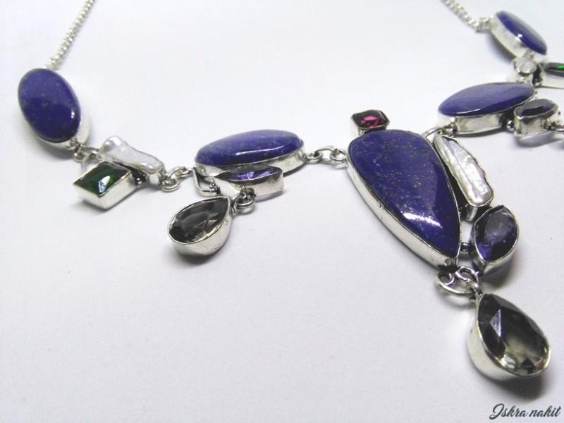 MASIVNA srebrna ogrlica,LAPIS LAZULI,prir.kamen,NOVA