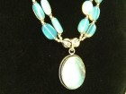 MASIVNA srebrna ogrlica OPAL,72 gr,prirodan kamen,NOVA