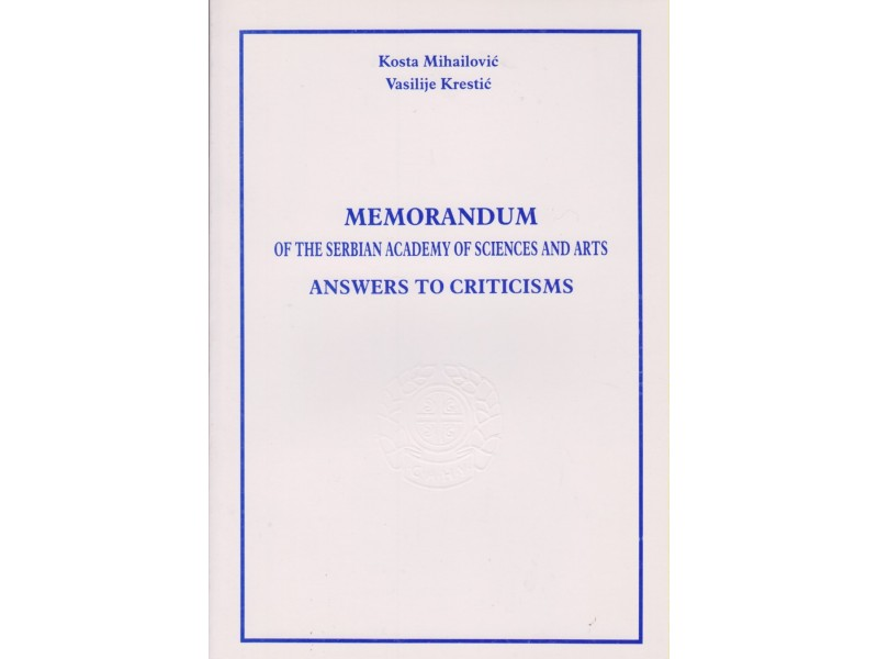 MEMORANDUM of the Serbian academy of sciences and arts