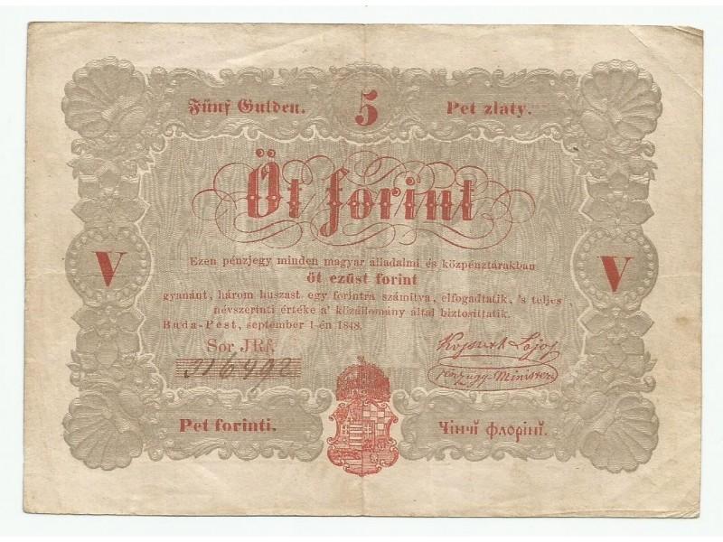 Madjarska 5 forinti 1848.