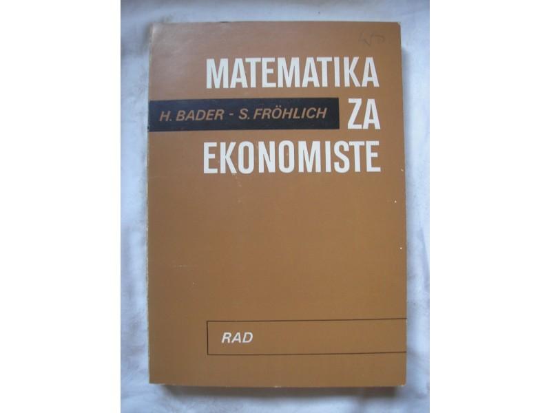 Matematika za ekonomiste, Bader - Frohlich
