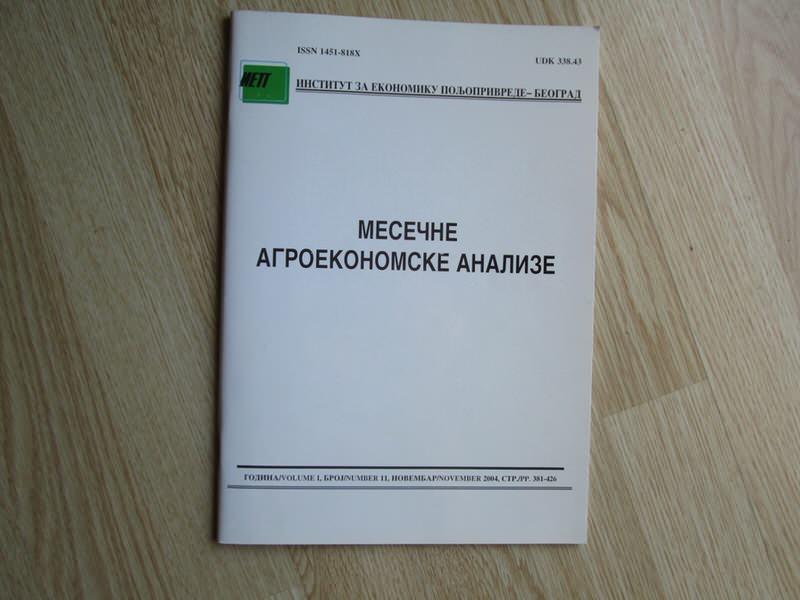 Mesecne agroekonomske analize novembar 2004