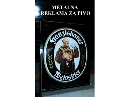 Metalna reklama za pivo - Franziskaner Weissbier RELJEF