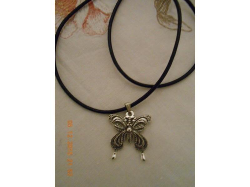 Muško-ženska ogrlica srebrni leptir