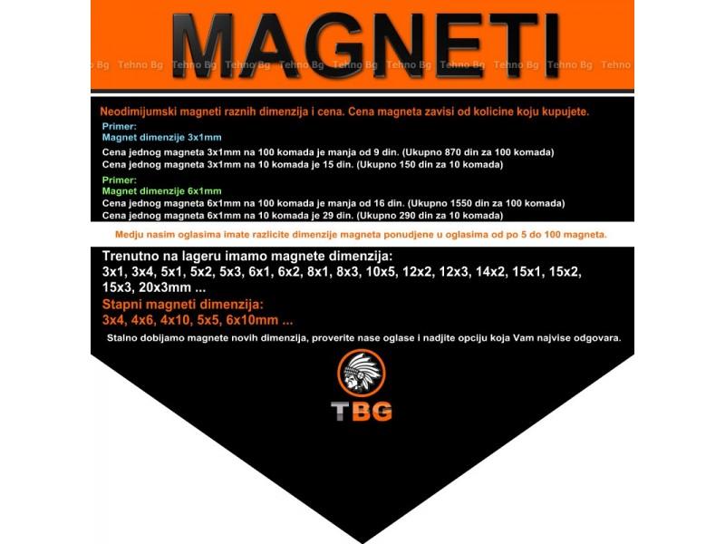 Neodijumski magneti 10x3mm rupa 3mm- 10 komada -
