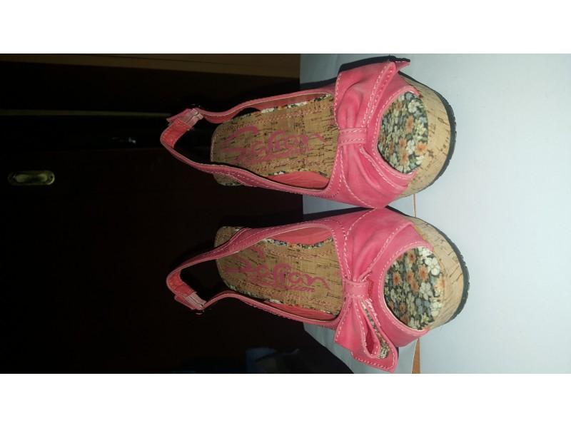 Nove roze-sarene sandale-pluta-platforma.Safran-NOVE