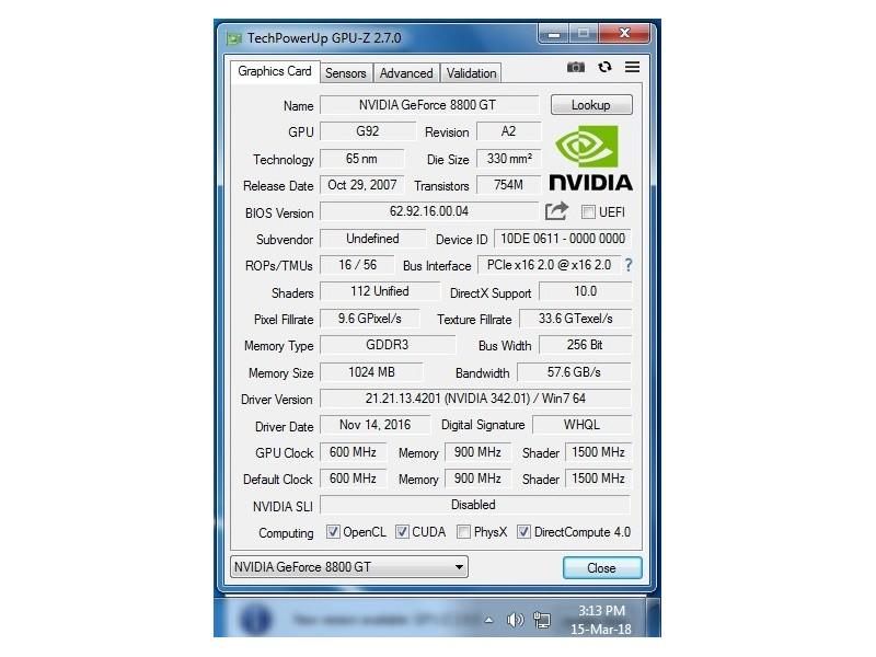 Nvidia GeForce 8800 GT / DDR3 / 1Gb / 256 bit