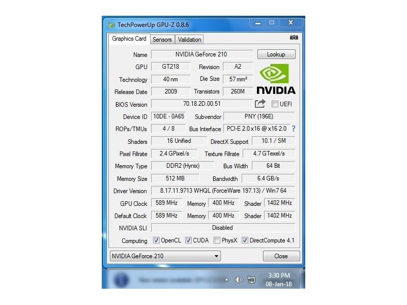 Nvidia PNY GF 210 / DDR2 / 512Mb / 64 bit / HDMI