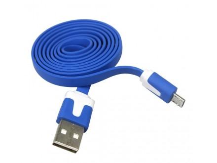 Omega USB / Micro USB kabl, flexi, plavobeli, 1m