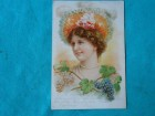 POSTCARD LITHOGRAPHY-lady-1900.g with grapes/XVII-43/