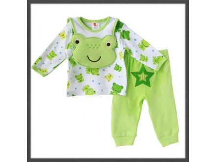 PRETTY set `frog`: pantalonice + duksic + portikla-NOVO