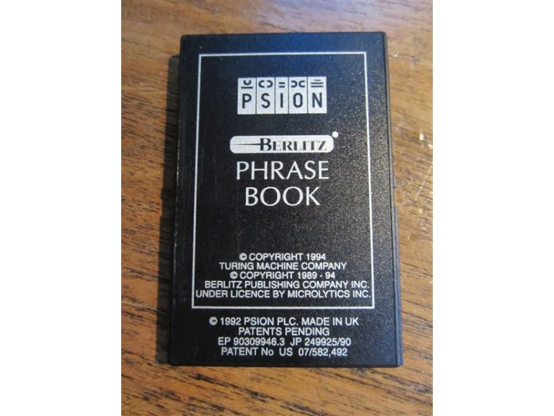 PSION Series 3 Berlitz Phrase Book modul