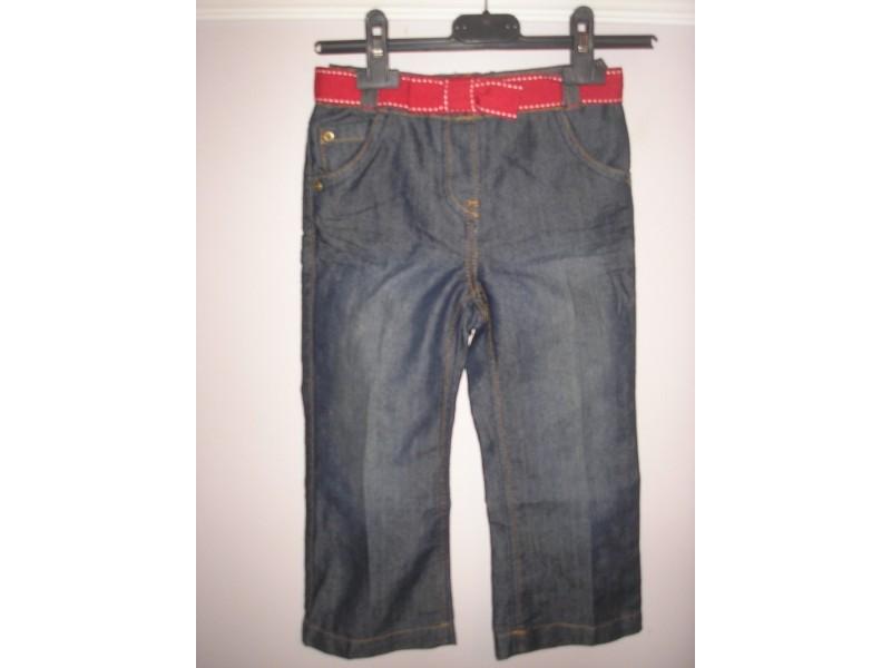 Pantalone sa crvenim kaisom za devojc 3-4 g