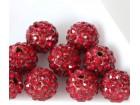 Perla sa cirkonima šambala 10mm crvena