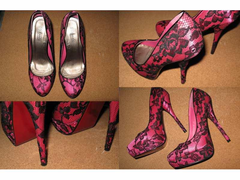 Pink cipelice sa crnom čipkom