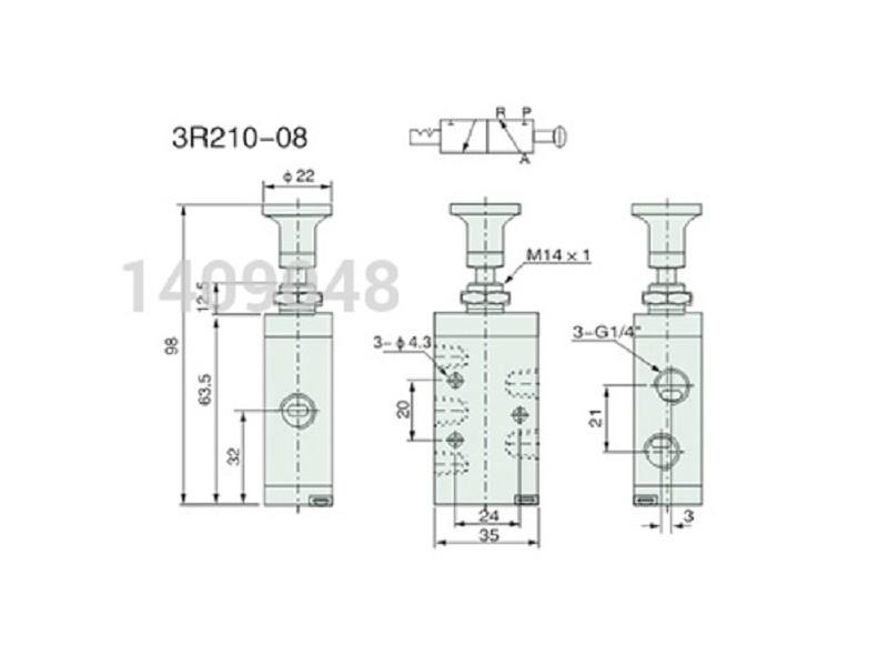 Pneumatski razvodnik ručni dugme 3/2 G1/4″ (oko 12.7mm)